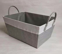 storage basket,gift basket,canvas basket,leather handle