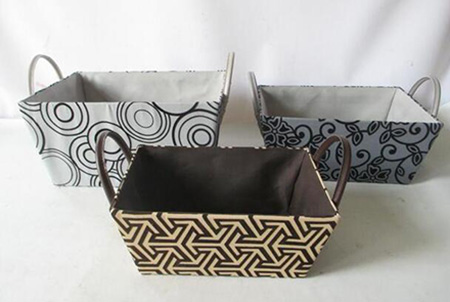 storage basket,gift basket,faux leather handle