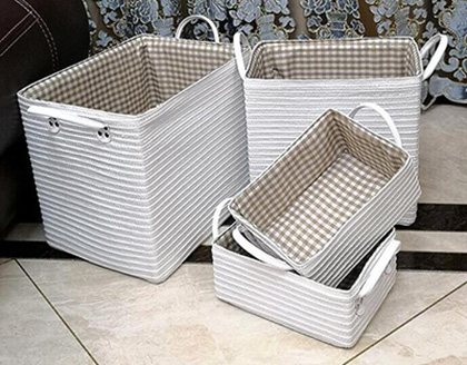 storage baskets,laundry basket,PP straw baskets with leather handle,S/4