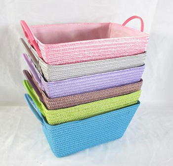 storage basket,gift basket,made of pp straw with liner,leather handle