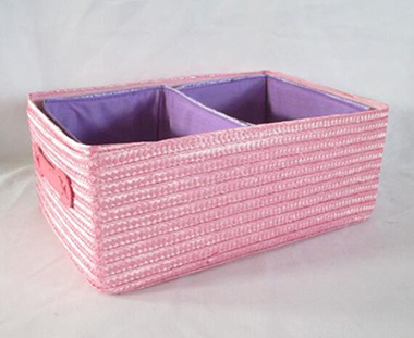 storage basket,made of PE straw with fabric liner and handle