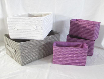 storage basket,made of PE straw with fabric liner,S/5